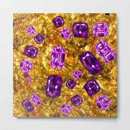 RICH OPULENT PURPLE  AMETHYST GEMS ON GOLD Metal Print