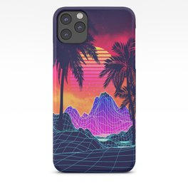 Neon glowing grid rocks and palm trees, futuristic landscape design iPhone Case