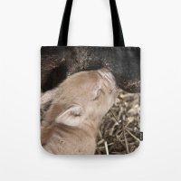 piglet Tote Bags featuring Piglet by Rachel's Pet Portraits