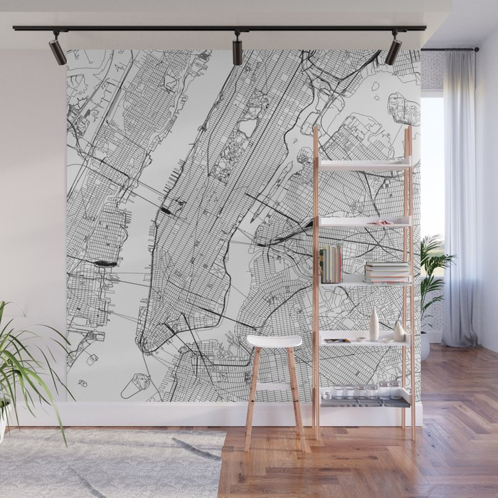 Foto Murales New York.New York City White Map Wall Mural By Multiplicity