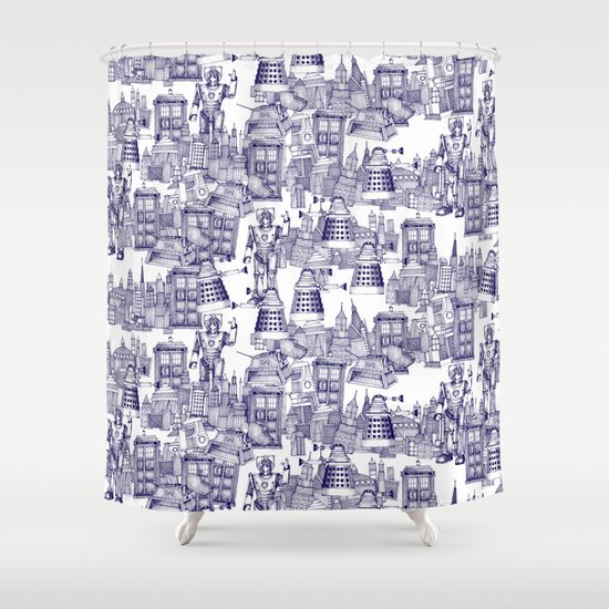 Doctor Who Toile De Jouy | U0027Walking Doodleu0027 | Blue Shower Curtain By  Sharonturner | Society6