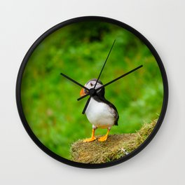 The Puffins of Mykines in the Faroe Islands III Wall Clock