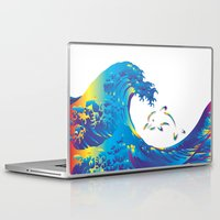 hokusai Laptop & iPad Skins featuring Hokusai Rainbow & dolphin_G by FACTORIE