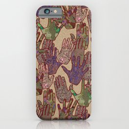 Give Me 5 [Hand Prints], Tan iPhone Case