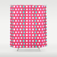 polka dots Shower Curtains featuring Polka Dots by Ornaart