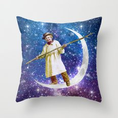 Playing on the Moon 1 Throw Pillow
