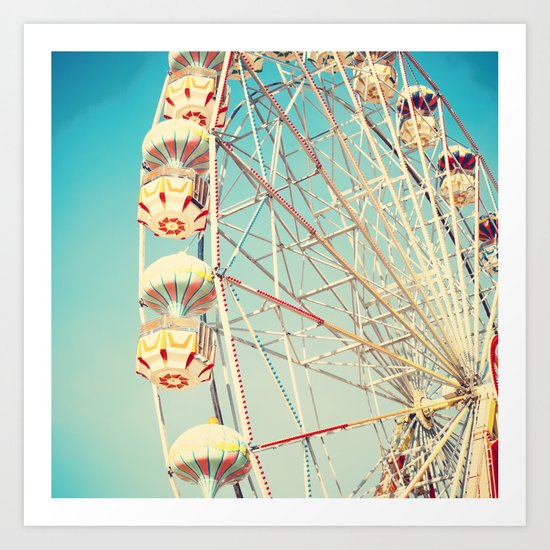 Honey Bunny, Ferris Wheel on Blue Sky Art Print