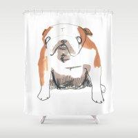 bulldog Shower Curtains featuring Bulldog by jo clark