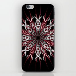 Mandala silver and red iPhone Skin
