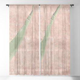Weathered pink wall and cactus Sheer Curtain
