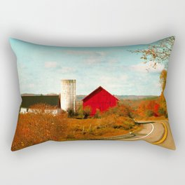 Red and White Barns and Fall Colors Rectangular Pillow