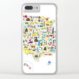 Animal Map of United States for children and kids Clear iPhone Case