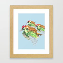 Weasel Riding Woodpecker Gang on Blue  Framed Art Print