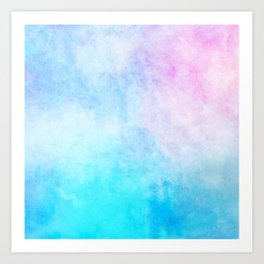 Baby Blue Pink Watercolor Texture Art Print