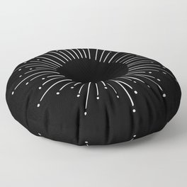 Sunburst Moonlight Silver on Black Floor Pillow