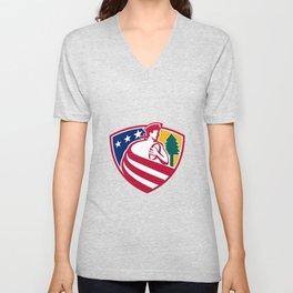 American Patriot Rugby Shield Unisex V-Neck