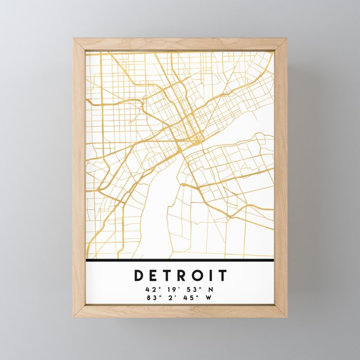 DETROIT MICHIGAN CITY STREET MAP ART Framed Mini Art Print