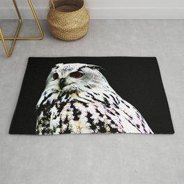 Eurasian Eagle-owl on a black background Rug