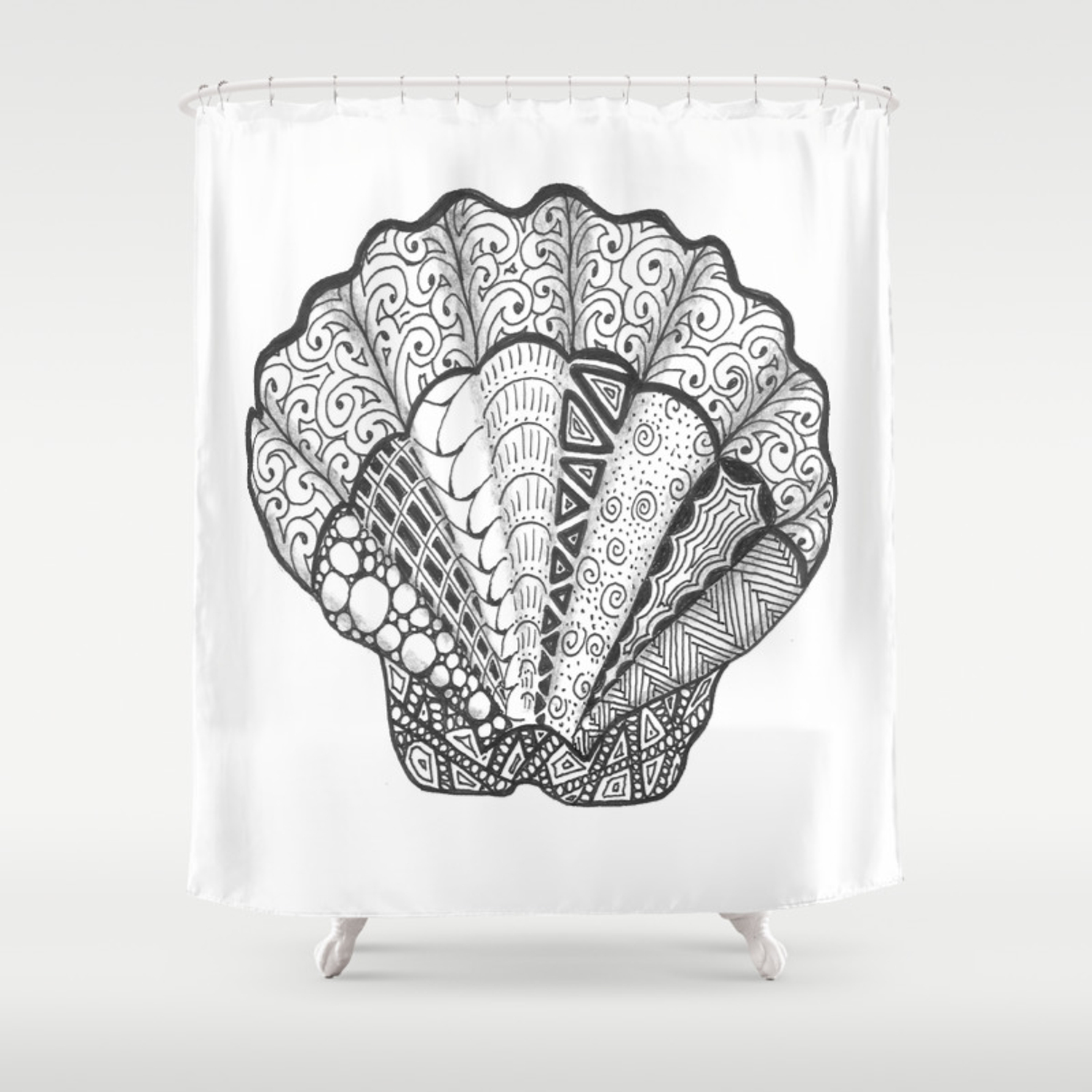 Scallop Seashell Art Decorative Beach Themed Doodle Shower Curtain