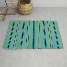 Azure Stripes Traditional Japanese Shima-Shima Pattern Rug