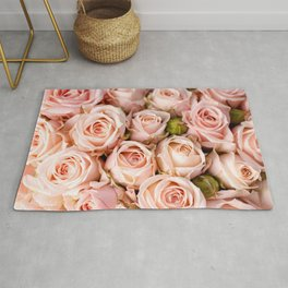 Fantastic Gorgeous Bouquet Of Pink Rose Blossoms Close Up Ultra HD Rug