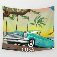 cuba Wall Tapestries featuring Cuba vintage travel poster print by Nick's Emporium Gallery