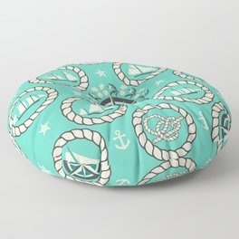 Blue Nautical Print with ships, compass, anchor and nautical knots Floor Pillow