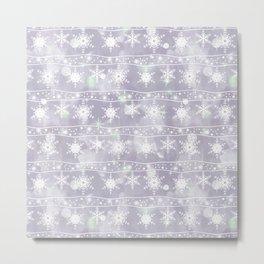 Openwork white snowflakes on light grey. Metal Print