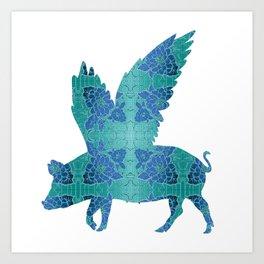Vintage Blue Flying Pig Art Print