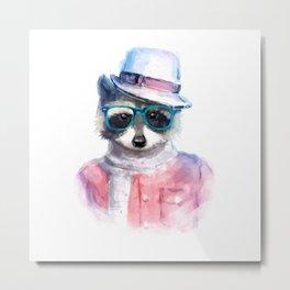 Cute fashion hipster animals pets raccoon Metal Print