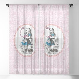 Alice in Wonderland | Alice Playing Croquet with a Flamingo and Hedgehogs | Pink Damask Pattern | Sheer Curtain