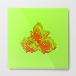 Neon Rose - Triplet - Chartreuse Metal Print