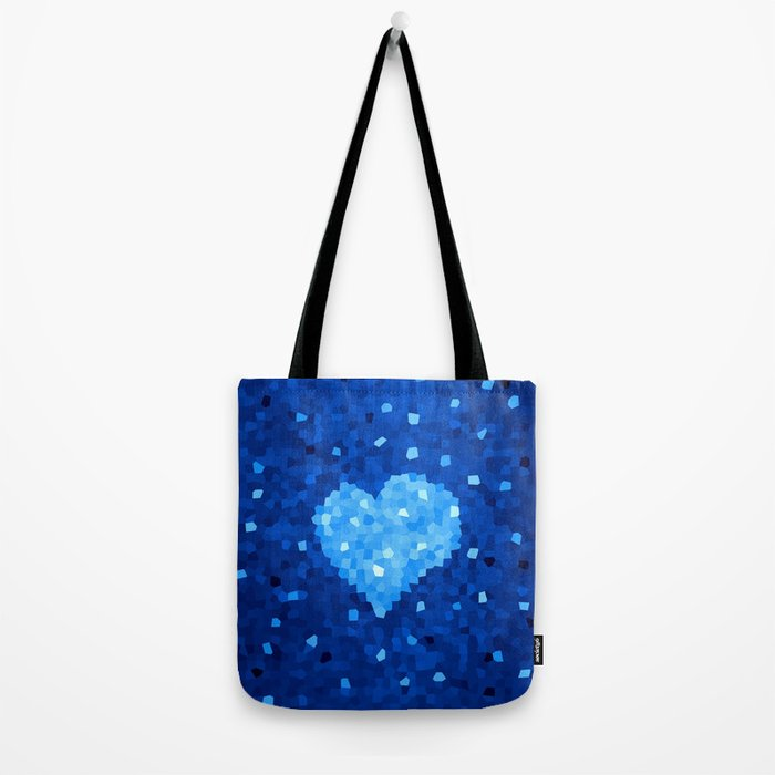 Winter Blue Crystallized Abstract Heart Tote Bag