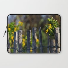 Yellow flower and wood fence Laptop Sleeve