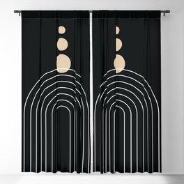 Mid Century Modern Geometric 67 (Rainbow and Rain, Black and Beige) Blackout Curtain