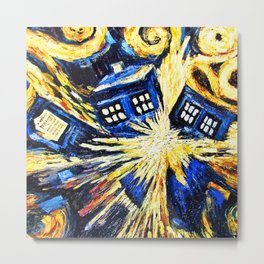 Tardis By Van Gogh - Doctor Who Metal Print