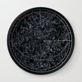 Northern Hemisphere Constellations White Blue Wall Clock