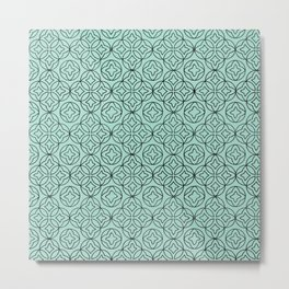 Ancient Pattern Illustration in Blue Metal Print