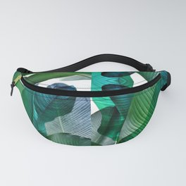 Palm leaf jungle Bali banana palm frond greens Fanny Pack