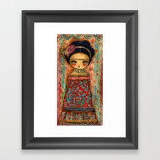 Frida In A Red And Teal Dress Framed Art Print