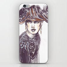 Fashion sketches in mixed technique iPhone & iPod Skin