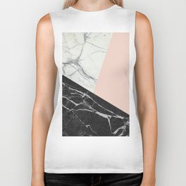 Black and White Marble with Pantone Pale Dogwood Biker Tank