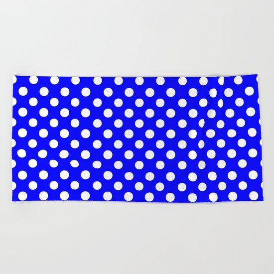 Polka Dots (White/Blue) Beach Towel
