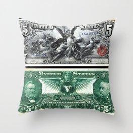 Vintage 1886 US $5 Dollar Bill Silver Certificate Wall Art Throw Pillow