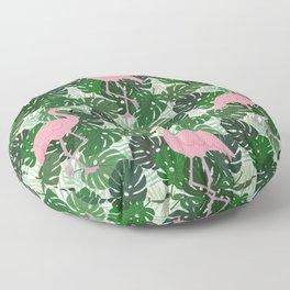 Tropic Big Leaves Flamingo Pattern Floor Pillow