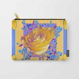 YELLOW BUTTERFLIES ART ROSE FLOWERS PUCE Carry-All Pouch