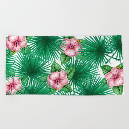 Jungle Love, Palm Leaves And Hibiscus White Beach Towel