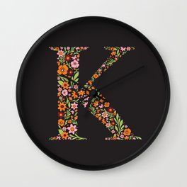 Retro Floral Letter K Wall Clock