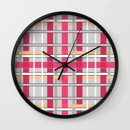 Grey-pink plaid Wall Clock