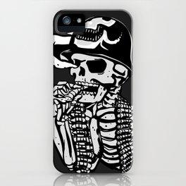 Military skeleton illustration - Soldier skull iPhone Case